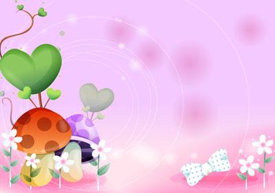 Розовый фон с грибами