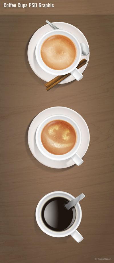 Три кружки кофе, вид сверху