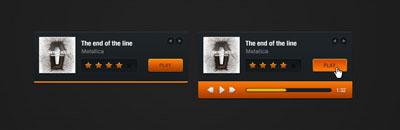 Черно-оранжевый плеер аудио