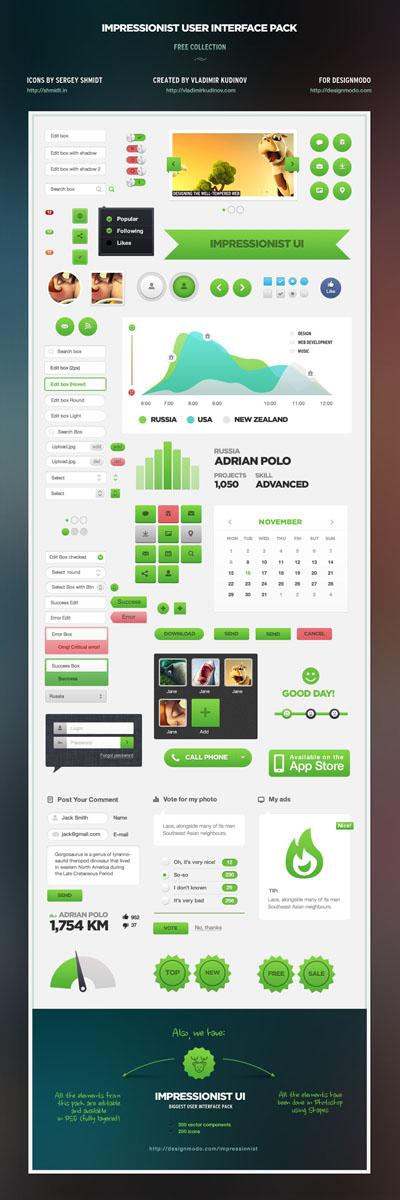 Огромный набор зеленых и серых элементов