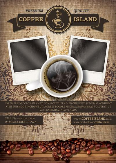 Макет постера про кофе