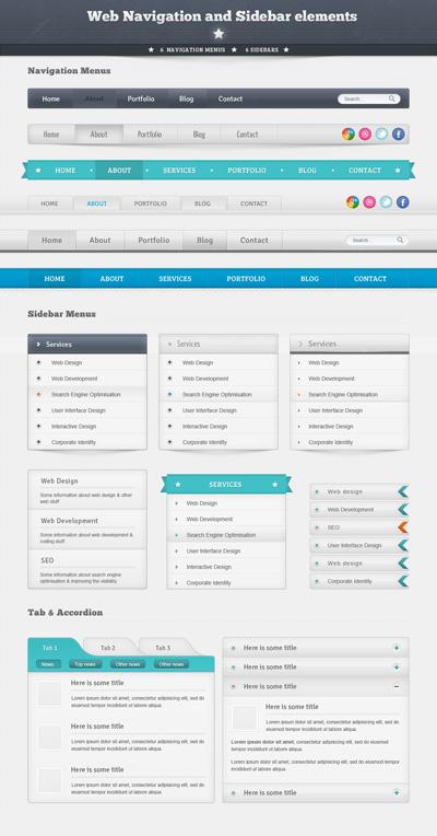 Набор веб элементов (меню, блоки)