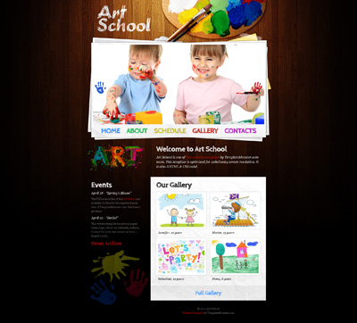 Шаблон детского сайта с деревянным фоном