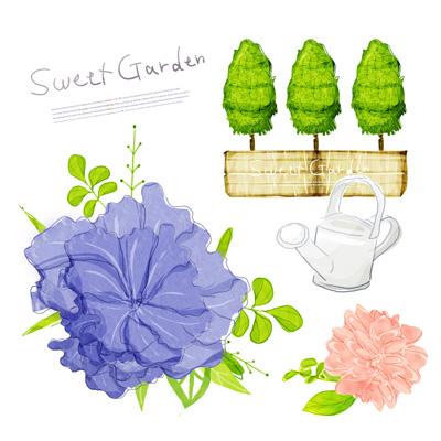 Акварель: цветы, деревья, лейка
