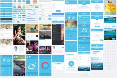 Огромный набор веб элементов голубого цвета