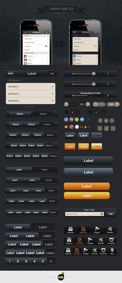 Набор элементов черного и оранжевого цвета