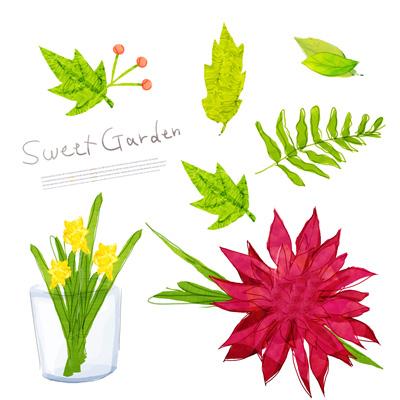 Цветы и листья, акварель