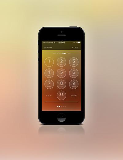 Экран ввода pin-кода на iphone