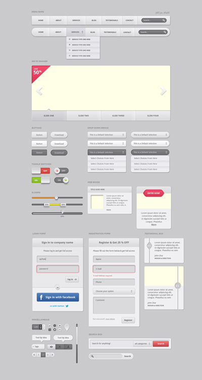 Набор веб-элементов серого цвета