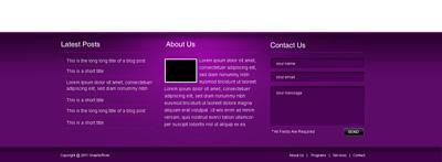 Футер (подвал, нижняя часть) сайта фиолетового цвета