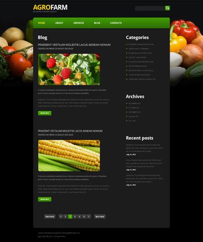 Шаблон сайта про овощи