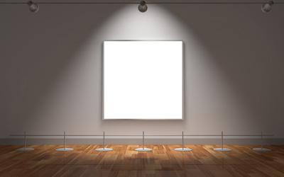 Картина на стене с подсветкой, картинная галерея