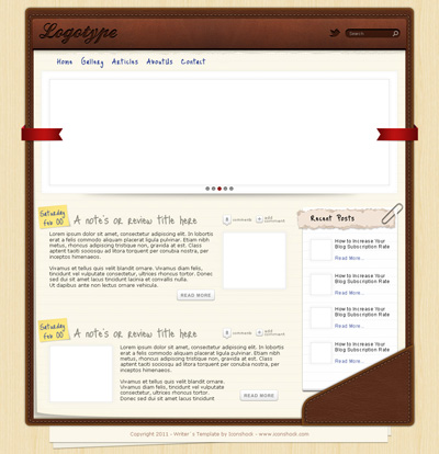 Шаблон сайта в виде записной книжки, кожаный фон