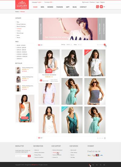 Шаблон сайта интернет-магазина по продаже одежды