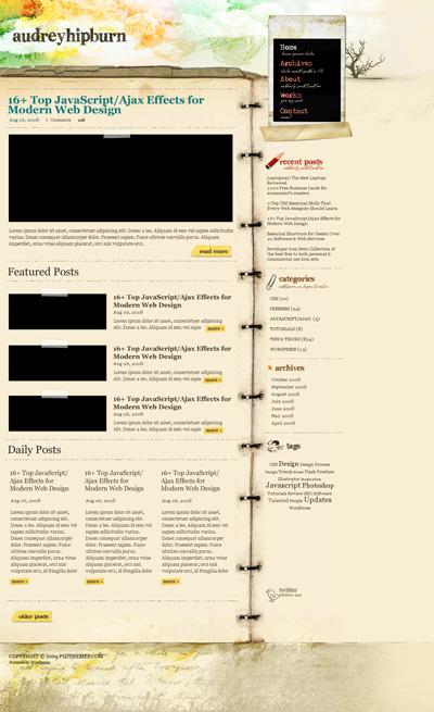 Шаблон сайта из старой бумаги