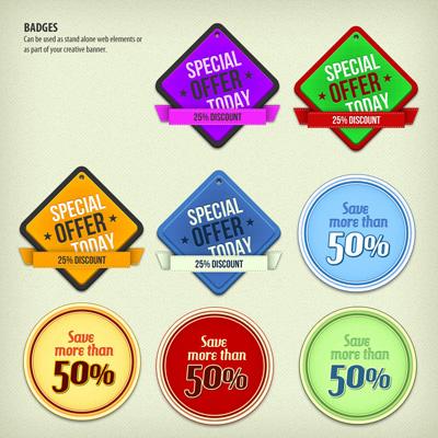 Стикеры со скидками и специальными предложениями