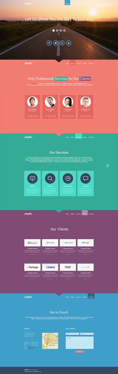Легкий шаблон сайта в стиле Flat