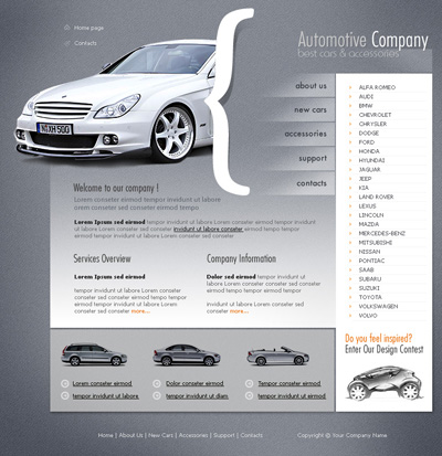 Шаблон автомобильного сайта на сером фоне