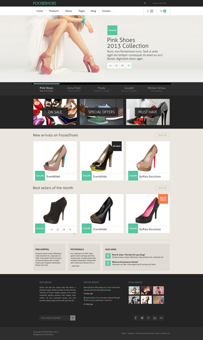 Шаблон интернет-магазина по продаже обуви