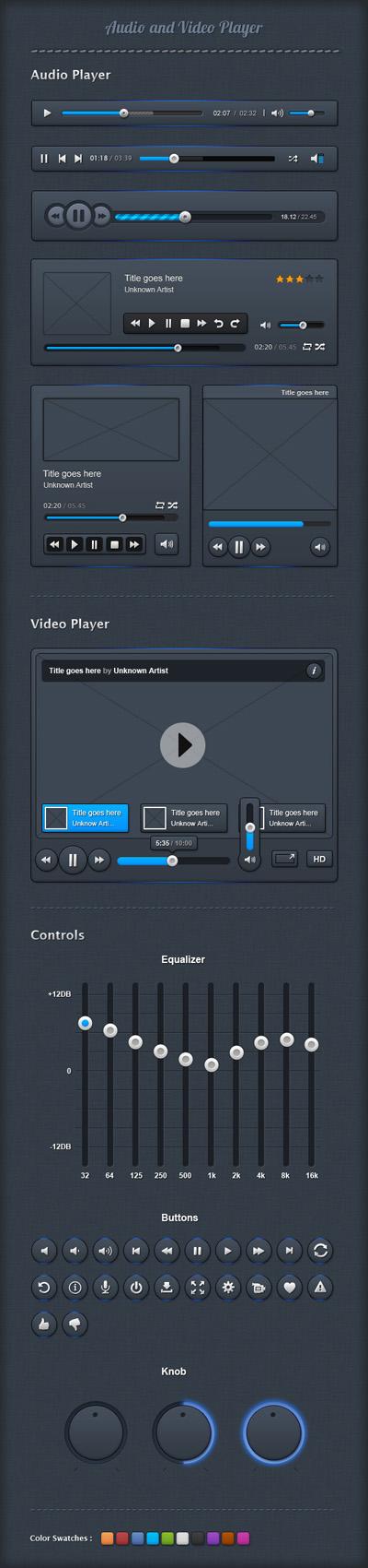 Исходники элементов для видео и аудио плеера