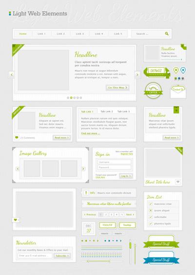 Исходники веб элементов серого и зеленого цвета