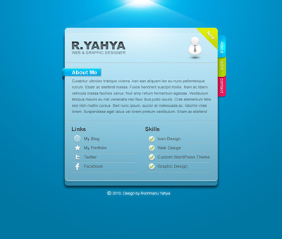 Блок голубого цвета для сайта с закладками