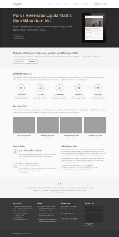 Макет сайта серого цвета в стиле Flat
