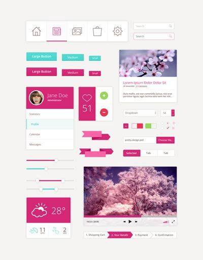 Веб элементы розового цвета в стиле Flat