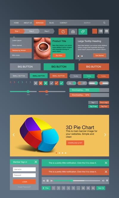 Красно-зеленые веб-элементы в стиле Flat