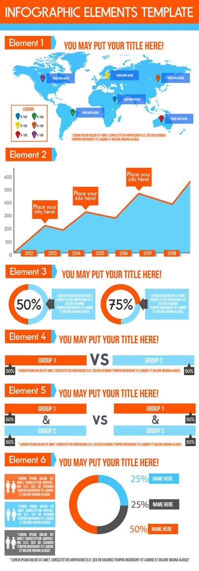 Яркая инфографика сине-оранжевого цвета
