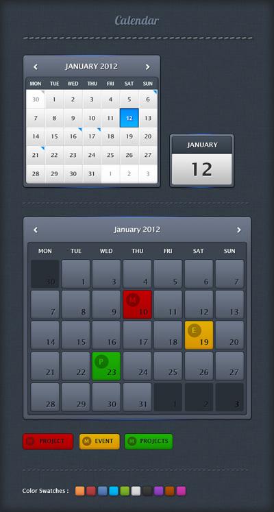 Календарь белого и серого цвета