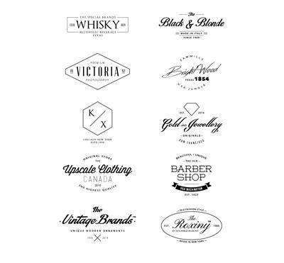 Винтажные черно-белые логотипы
