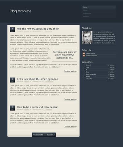 Исходник блога темно-серого цвета