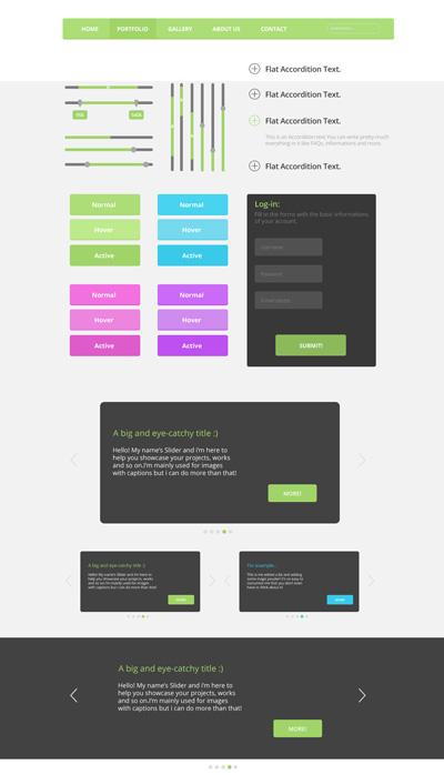 Flat кнопки и текстовые блоки