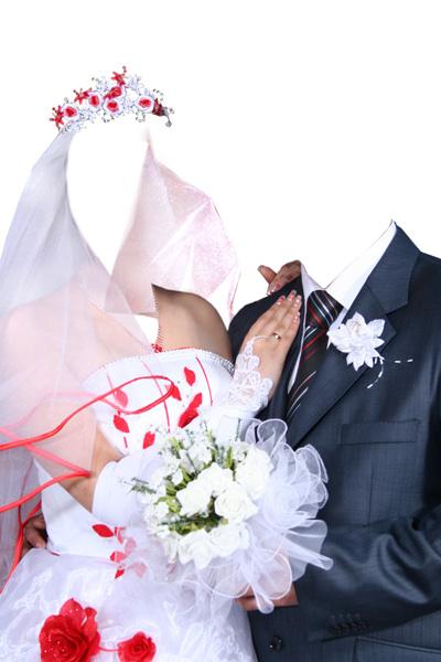 Свадебное платье с красной отделкой