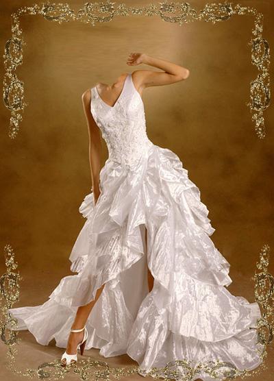 Свадебное платье с открыйто ногой