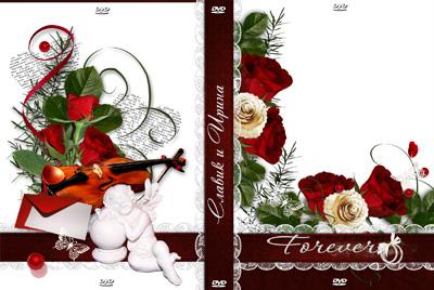 Красная обложка на свадебный диск