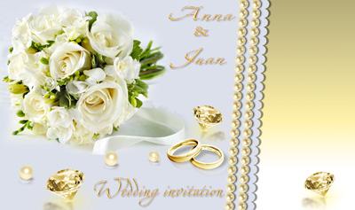 Пригласительные на свадьбу с белыми цветами