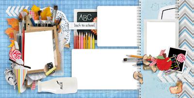 Школьная рамка с предметами на голубом фоне
