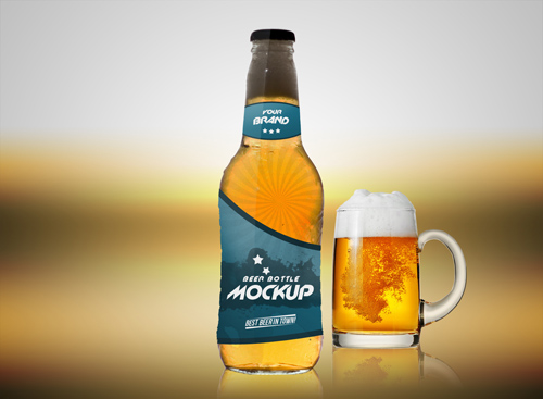 Мокап пивной бутылки и кружки пива