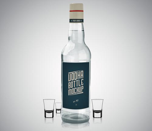 Мокап бутылки с водкой