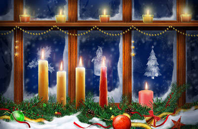 Новогодние свечи напротив окна