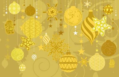 Бежевые новогодние элементы