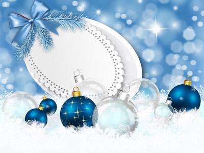 Новогодний шаблон синего цвета для фото