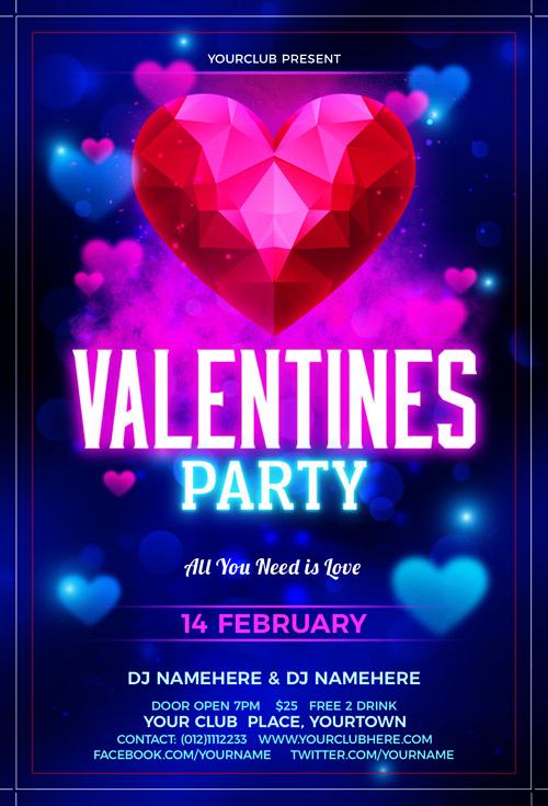 Постер на вечеринку в честь Дня Святого Валентина