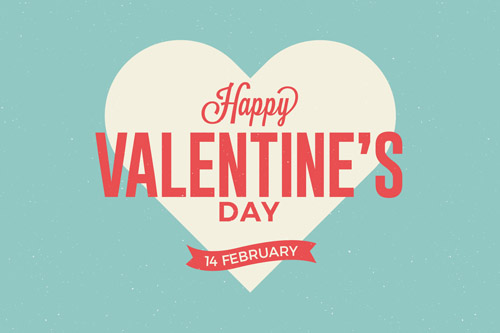 Голубая открытка на День Святого Валентина