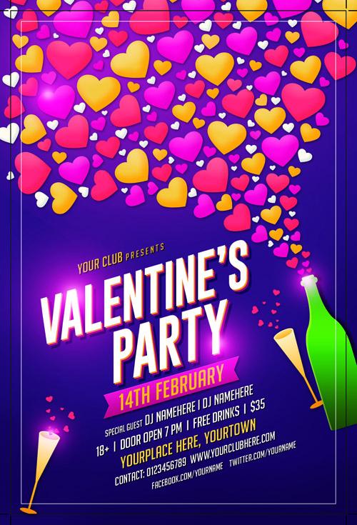 Постер для вечеринки на День Святого Валентина