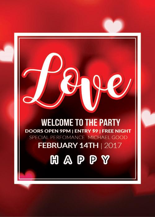 Открытка на День Святого Валентина с размытым фоном