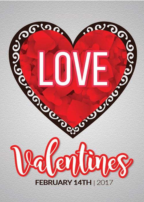 Открытка на День Святого Валентина с сердцем из сердечек