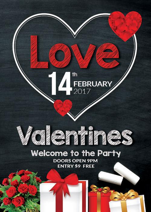 Открытка на День Святого Валентина на черной доске